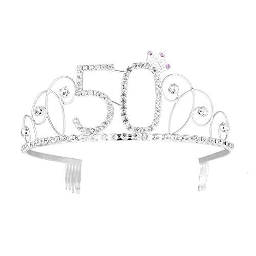Frcolor Alles Gute zum Geburtstag 50. Silber Kristall Tiara Krone (Halloween Kostüme Für Frauen Über 50)