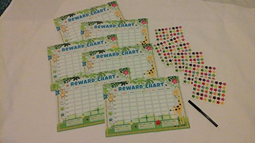 Anker-charts (6 x Reward Charts Childrens Jungle Themed Behaviour/Chore Charts with Stickers & Pens by Kids Create)