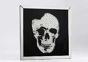 Totenkopf bild mit strasssteinen und - Totenkopf wandbild ...