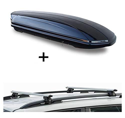 Dachbox VDPMAA580 580Ltr abschließbar schwarz + Dachträger CRV120 kompatibel mit Dacia Duster (5 Türer) 2010-2013
