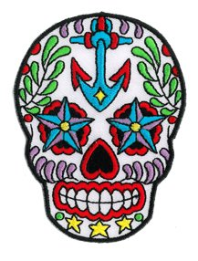 "Preisvergleich Produktbild Sunny Buick, Ancre Sugar Skull Day Of Dead with Anchor & Nautical Stars, - 3.5"" x 2.75"" - Intricate Stitching Iron/Saw-On Patch Flicken"