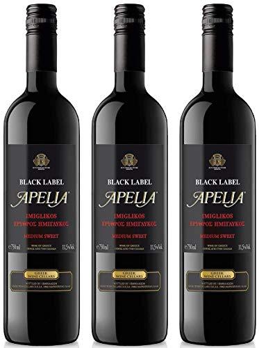 3x 0,75l Black Label Apelia | Lieblicher Rotwein | Imiglykos | 11,5% Vol. | Kourtaki | + 1 x 20ml Olivenöl von Kreta