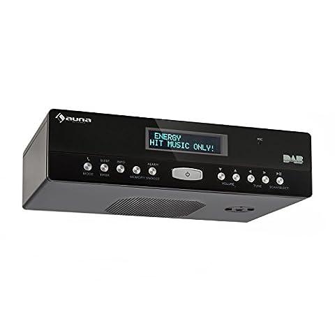 auna KR-100 DAB BK • Küchenradio • Unterbau Digitalradio • DAB / UKW Radio • 40 Senderspeicherplätze • automatischer und manueller Sendersuchlauf • Bluetooth • Eieruhr • Freisprechfunktion • Dual-Alarm • Schlummerfunktion • Wurfantenne • LCD Display • schwarz