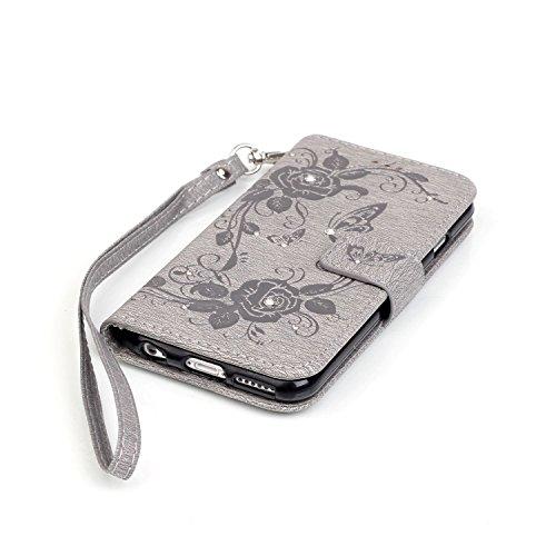 JIALUN-Telefon Fall Mit Kartensteckplatz, Lanyard, geprägte Mode Open Handy Shell für IPhone 7 ( Color : Brown , Size : IPhone 7 ) Gray