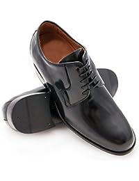 ZERIMAR Zapatos con alzas interiores para caballeros Aumento + 7 cm Zapato fabricado en piel vacuna de alta calidad Color negro