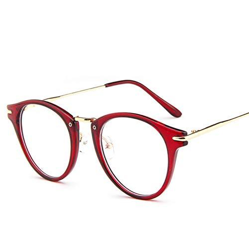 Taiyangcheng Klarer Heller Brillen-Rahmen voller runder Brillen-Rahmen klar für Frauen für Männer,Weinrot
