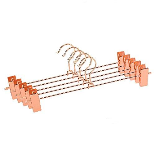 Inveroo 12pcs Rose Copper Gold Metal Heavy Duty Pants Skirt Slack Hangers, Trousers Hanger with Clips Rack Swivel Hook (Gürtel Swivel Hanger)