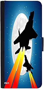 Snoogg Moon And Jet Fighters Designer Protective Phone Flip Case Cover For Lenovo Vibe S1