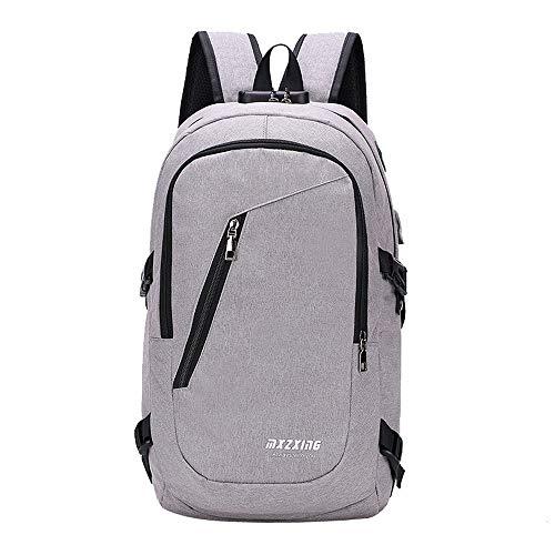 REALIKE Unisex Rucksack USB Reisetasche Mode Daypack Casual Anti Diebstahl Mode Kleidertaschen Hochwertigem Ngetasche Einkaufstasche Packtaschen Beuteltasche Messenger Tasche (M, Grau)