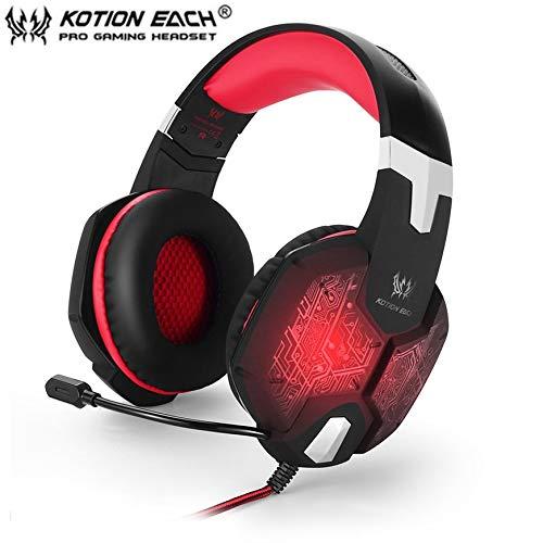 Pudincoco JEDER G1000 PC Gaming Bass Stereo Headset Mikrofon LED-Licht Laptop-Computer (Farbe: schwarz und rot) (Szie: schwarz und rot)