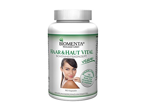 Vital-tablette, Vitamine (BIOMENTA HAAR & HAUT VITAL | mit siliciumhaltigem Hirse-Extrakt, Biotin, Zink, Selen, L-Cystein, B-Vitaminen, Mineralstoffen | 90 Haar-Haut-Kapseln | VEGAN | 3 Monatskur)