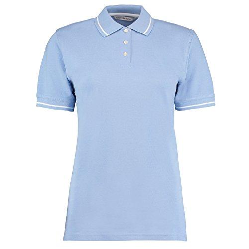 Kustom Kit Damen Modern Poloshirt Gr. 48, Light Blue/ White (Shirt Pique Pocket Striped Knit)