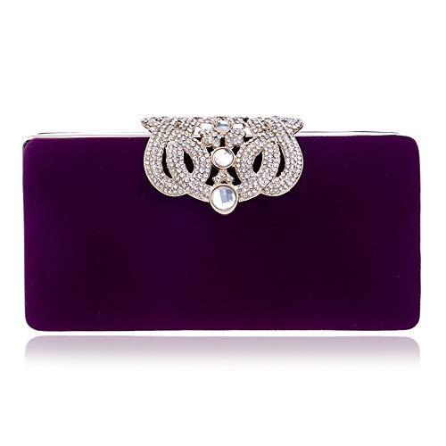 LLUFFY- Clutchmonederos Embrague del Vestido de Noche del Bolso del Banquete de la Corona de la Moda de la señora del Bolso de Noche, el 16.5 * 8cm, púrpura