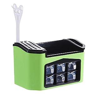 CQ Startseite Messer Gabel Gewürze Rost Kunststoff Küchenplaner Gewürzglas Aufbewahrungsregal Gewürze Zubehör,Green