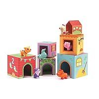 Djeco DJ09108 TopaniFarm Nest and Stack Blocks Set Infants, Farm