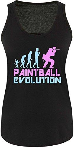 EZYshirt® Paintball Evolution Damen Tanktop Schwarz/Hellbl/Rosa