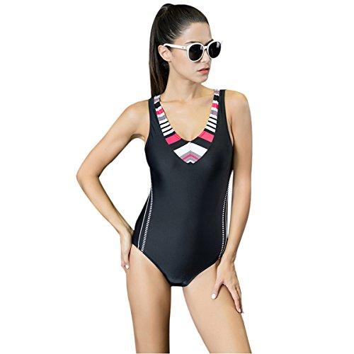 Mufly Mujer Bikini atractiva Sin espalda Traje de baño de una pieza Bikini Triángulo Bañadores Deportivos Talla Grande Negro XXL