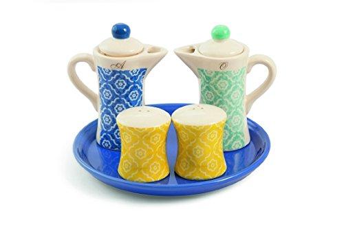 Galileo casa marrakech menage, ceramica, azzurro/giallo, 5 unità