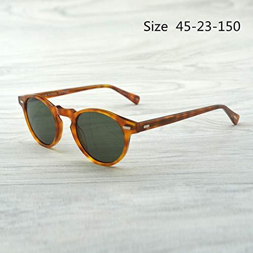 LKVNHP Hochwertige Gregory Peck Markendesigner Männer Frauen Sonnenbrillen Vintage Polarisierte Sonnenbrille Retro Sonnenbrille Oculos De SolBernstein Vs Grün 45