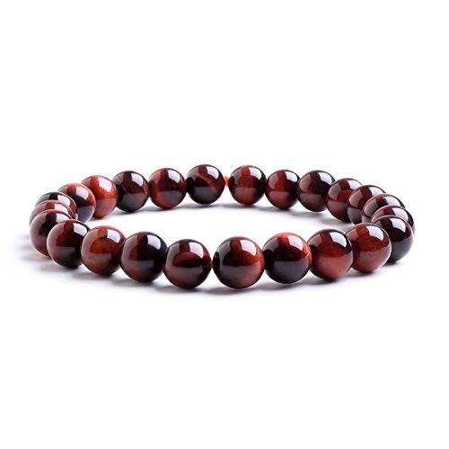 Candyfancy Rotes Tigerauge Armband 8mm Natürlich Stein Bergkristall Heilsteine Bead Perlen Elastisch Chakra Armreif Damen Herren
