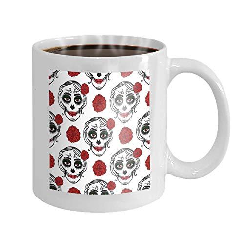 11 oz Coffee Mug catrina woman make up sugar skull seamless pattern dia de los muertos mexican day dead catrina woman Novelty Ceramic Gifts Tea Cup (Dia Männer Los Make-up Muertos De)