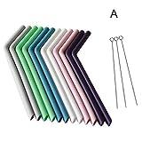 Leobtain 12Stück farbig Wiederverwendbar Silikon Umweltfreundlich Trinkhalme Flexibler Gebogener Strohhalm mit 3-teiliger Reinigung Pinsel