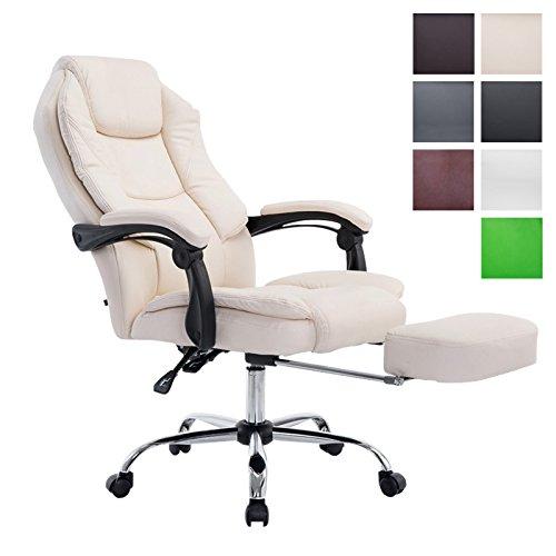 CLP Chefsessel Relaxsessel mit Armlehne CASTLE, belastbar 130 kg, Fußablage ausziehbar, Bürostuhl Gaming höhenverstellbar 47 - 57 cm Braun