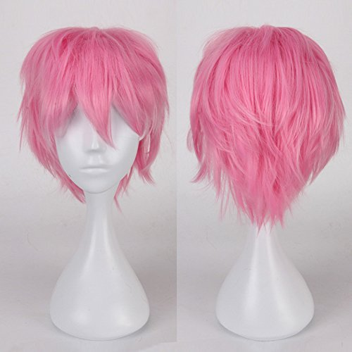 ostüm Perücke Kurz Party Cosplay wig Kostueme Glatt Haar Perücken Wigs Damen Mann - rosa (Kostüme Mit Kurzen Rosa Perücke)