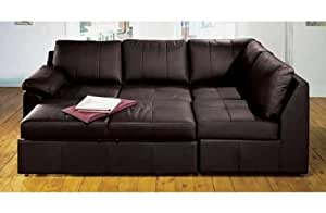Alonza brown real leather right hand corner sofa bed for Sofa bed amazon uk
