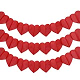HusDow 10 Pack Valentines'Day Decoration Red Heart-Shaped Garland Hanging Heart Garland Banner for Valentines Day Wedding Decorations.