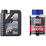 LIQUI MOLY 2555 Motorbike 15W-50 4T Street Synthetic Technology Engine Oil (1 Litre) & LIQUI MOLY 7822 Motorbike T Shooter (80 ml)