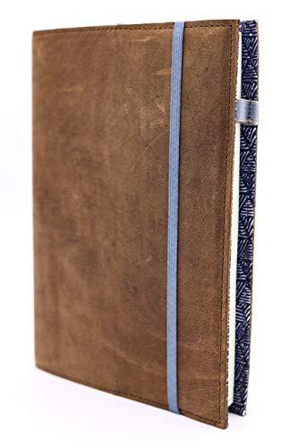 skaard Notizbuch Leder   dinA5   Nachfüllbar   Blanko Recyclingpapier   Vintage Ledereinband   Triangle-Design   Tagebuch - Braune A5 Organizer