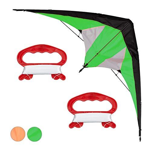 Relaxdays Lenkdrachen, Zweileiner für Kinder und Erwachsene, Drachen für Anfänger, Schnur 30 m, Kite 114x49 cm, grün