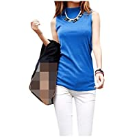 Coolred Womens Turtle Neck Sleeveless Cotton T-shirts Summer Tank Top Shirts AS2 M