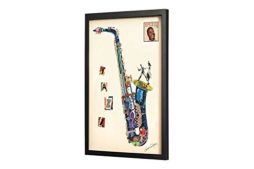 Trendiges KunstLoft® Bild Frame Art 3D 'Sax on the Beach' 61x81cm | Handgefertigte Vintage Wanddeko aus Papier | Saxophon Musik Jazz | Design Wandbild Collage Art moderne Kunst Retro im Bilderrahmen (Bilder Von Alex)
