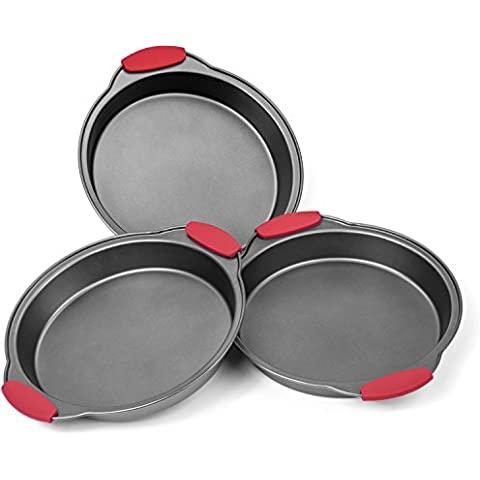Elite Bakeware 3 Piece NonStick Cake Pans Set with Silicone Handles - Easy Release Non Stick Coating - Wide Round Ends For Easy Handling - Commercial Grade Baking Pans For All Cakes by Elite Bakeware