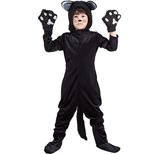 LSGNB Tierische Leistungskleidung Der Schwarzen Katze Katzenkostüm for Kinder Kinderkleidung Bühnenanzug Halloween-Maskerade (Size : XL) (Tierische Baby Kostüm)