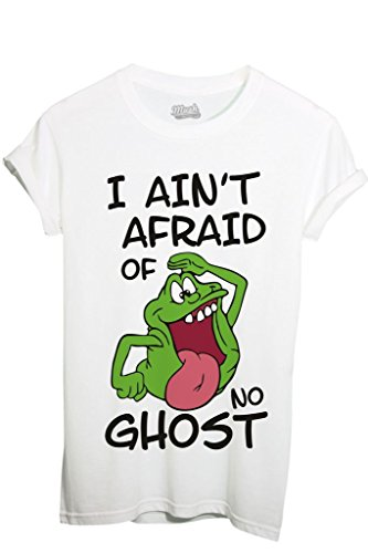 T-Shirt SLIMER I AINT AFRAID OF NO GHOST - GHOSTBUSTERS - FILM by iMage Dress Your Style - Donna-XL-BIANCA