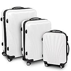 BERWIN® Trunk Case 3-parts Trolley Trolley Hard Shell Case ABS Telescopic Handle Funnel (White)