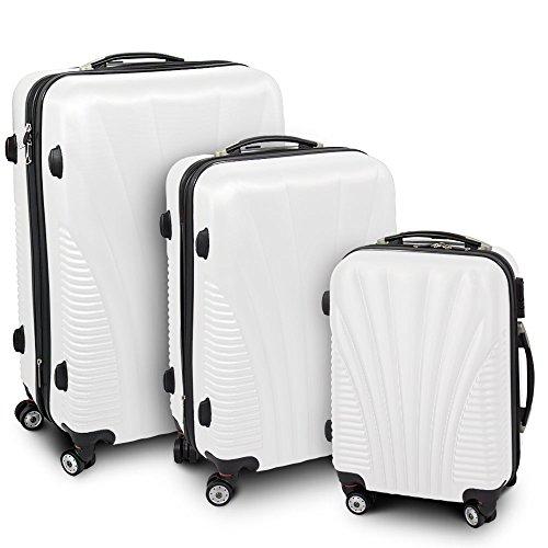 Kofferset 3-teilig Reisekoffer Trolley Hartschalenkoffer ABS Teleskopgriff Modell 'Funnel' (Weiß)