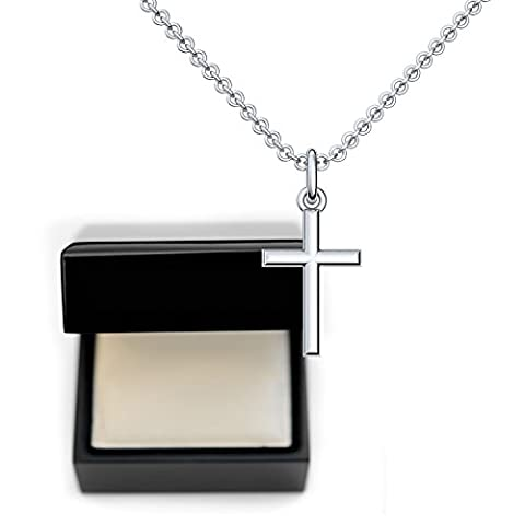 Collier croix *ARGENT *luxe bijoux en argent sterling 925 Boîte cadeau idée cadeau pour femme Inscription