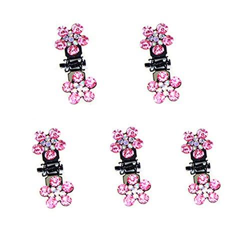Belle bijoux filles fleurs clips cheveux, Mini 5 Count, Rose