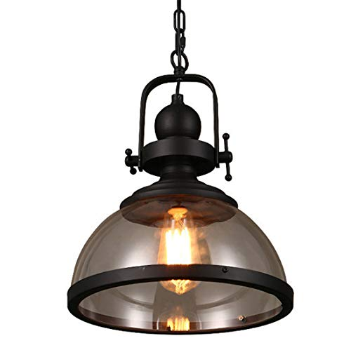 Zceillamp Vintage Industrial Ceiling Lights Creative Pendant Lights Glass Shade for E27 Bulb Retro Black Design-Cafe Bar Loft Bedroom Living Room Lighting Decoration Lamp -
