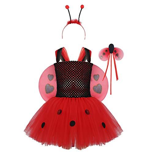 inlzdz 4 stücke Mädchen Marienkäferkostüm Set Polka Dots Ballerina Tutu Rock mit Flügel Haarband Fee Zauberstab Cosplay Kleider für Karneval Fasching Rot 122-128 - Vintage Ballerina Bilder