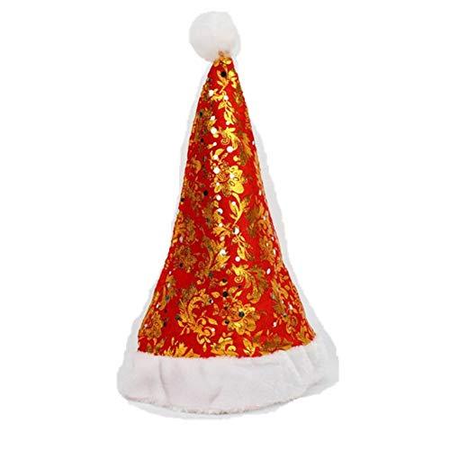 Amphia Weihnachtsmütze - Weihnachtsabend Weihnachtsmütze rot Weihnachtsferien-Blumendruck-Weihnachtskappe für Weihnachtsmann-Geschenk-Vlieskappe RD