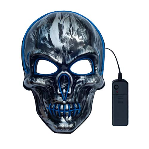 Amosfun Kopf Schädel leuchtende Maske Halloween Kostüm Zubehör Light Up Dress-up Maske für Maskerade Karneval Party ohne Batterie (Light Up Kostüm Zubehör)