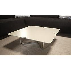 Möbel Akut Couchtisch ROLF BENZ Freistil 195 Design Kleeblatt 79x79 warmgrau Gestell Chrom