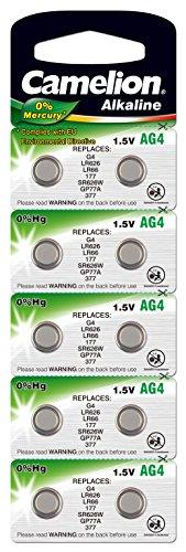 10 Stk. (1 Blister) Camelion 0%HG Alkaline 1,5V Knopfzellen Uhren-Batterien AG4, 177, 377, SR626, LR626