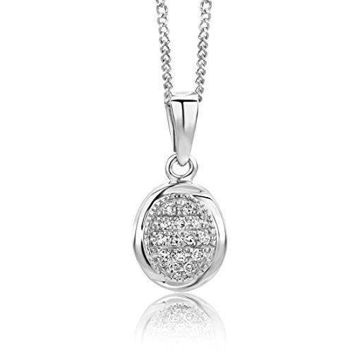 Miore Damen Halskette 9 Karat (375) Weißgold Diamant 45 cm weiß SA9010N