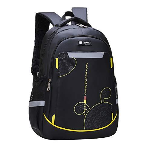Schulranzen Jungen Mädchen Schulrucksack Teenager Schultaschen Schulrucksack Wasserdicht Rucksäcke Backpack Schwarz Große Größe